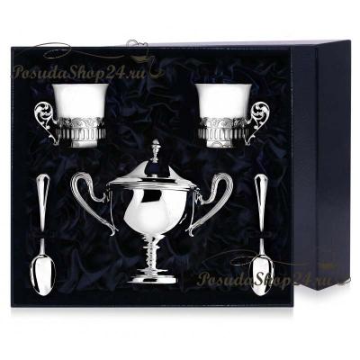 Серебряный кофейныйнабор «Богема» с сахарницей. арт. 925-5-РИ60НБ07801