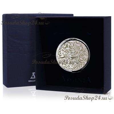 Серебряная шкатулка-таблетница с рисунком. арт. 925-5-сх55590g