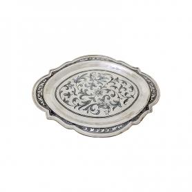 Поднос серебряный овальный. Серебро 875 пробы. арт. 875-0011