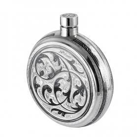 Серебряная круглая фляга. арт. 875-0012