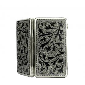 Серебряный женский портсигар «МАДАМ». арт. 875-0022(22)