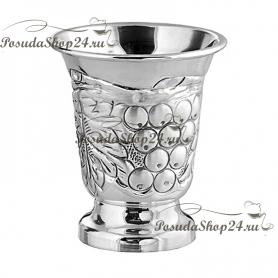 Серебряная большая стопка «ВИНОГРАД» на ножке. арт. 875-2-0144