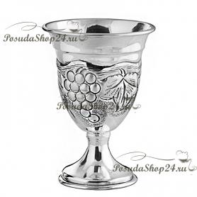 Серебряная большая рюмка «ВИНОГРАД» на ножке. арт. 875-2-0289