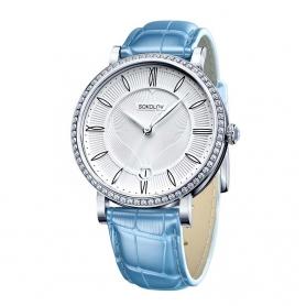 """Серебряные  часы """"ЭНИГМА"""" (голубые).арт. 925-8-102.30.00.001.01.05.2"""