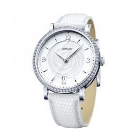 """Серебряные часы """"ЭНИГМА"""" (белые).арт. 925-8-102.30.00.001.03.02.2"""