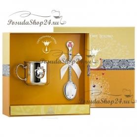 Набор из серебра «МИШКА-МАЛЫШ»: кружкаиложка. арт. 925-5-1004КР05008/08