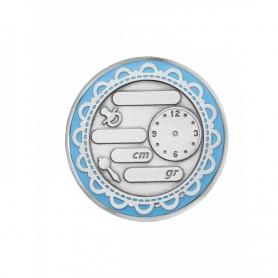 """Серебряная монета """"С РОЖДЕНИЕМ"""".(голубая эмаль) арт. 925-5-1201СВ00001"""