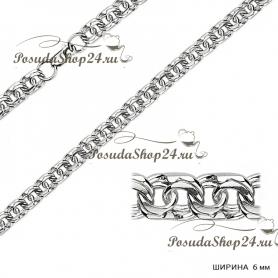 Серебряная цепь БИСМАРК (Ширина: 6 мм.) арт. 925-2-170-6