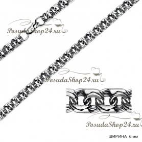 Серебряная цепь БИСМАРК (Ширина: 6 мм.) арт. 925-2-170-6ч