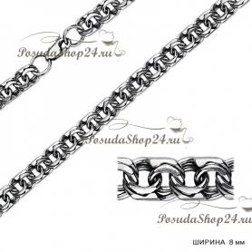 Серебряная цепь БИСМАРК (Ширина: 8 мм.) арт. 925-2-170-8ч