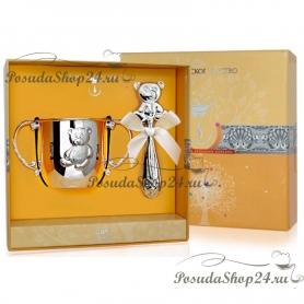 Набор из серебра «МИШКА»: кружка и погремушка. арт. 925-5-1GI0441X/8-н3