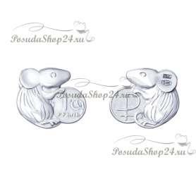 Серебряная монетка с мышкой. арт. 925-8-2305080008