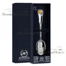 Серебряная чайная ложка «ВИЗИТ» с позолотой. арт. 925-5-263ЛЖ03002