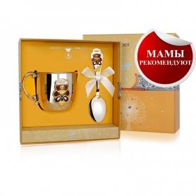 Набор из серебра «МИШКА»: кружечка и ложка. арт. 925-5-610НБ05808