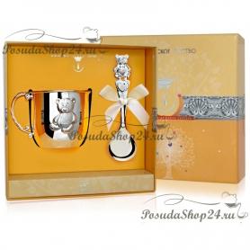 Набор из серебра «МИШКА»: кружка и ложка. арт. 925-5-115НБ05801