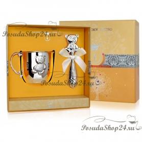 Набор из серебра «МИШКА»: кружка и погремушка. арт. 925-5-1GI0441X/8-н2
