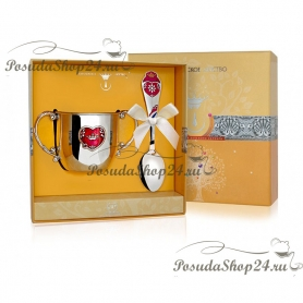 Набор из серебра «СЕРДЦЕ»: поильник и ложка. арт. 925-5-555НБ05808