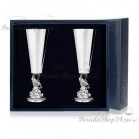 Набор из 2 серебряных рюмок «РЫБКА». арт. 925-5-577РМ00801