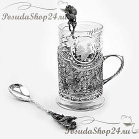 Серебряный подстаканник «Глухариная охота» с чайной ложкой. арт. 925-5-411ПС00001