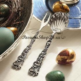 Серебряная ложка для сахара «ОХОТНИЧЬЯ». арт. 925-5-093СВ03006