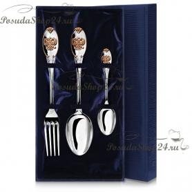 Столовый набор из серебра «ЕДИНСТВО» с позолотой. арт. 925-5-688НБ01802