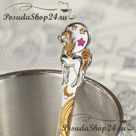 Серебряная детская ложка«ЕДИНОРОГ DODO» (розовая эмаль). арт. 925-5-1180ЛЖ05808(р)