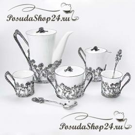 Серебряный кофейный/чайный  набор «РОЗА». арт. 925-5-1077НБ07806
