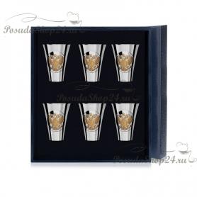 Набор из 6 серебряных позолоченных стопок «ГЕРБ» арт. 925-5-536НБ00802(6)