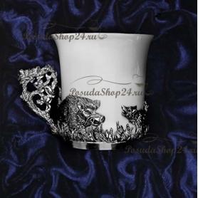 Серебряный кофейный набор на 6 персон «ОХОТА». арт. 925-5-540ЧШ07006(н6)