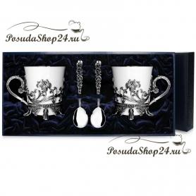 """Серебряная чайная пара  """"ЦВЕТОЧНАЯ"""" с ложками. арт. 925-5-568НБ03806(н2)"""