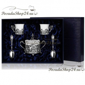 Серебряный кофейный набор с сахарницей «Глухариный край». арт. 925-5-790СХ16001