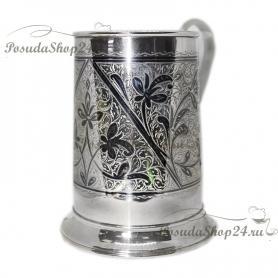 Пивная  серебряная кружка. арт. 875-6-0061(15)