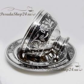Серебряная чашка с блюдцем. Серебро 875 пробы. 875-2-0912