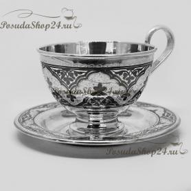 Cеребряная чайная пара. арт. 875-2-0908