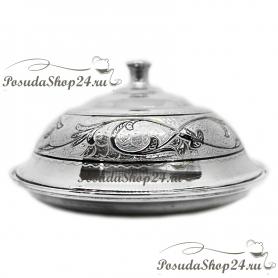 Серебряная масленка с крышкой. Серебро 875. арт. 875-2-1401