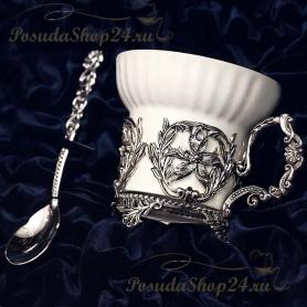 Серебряная чайная пара «Симфония». арт. 925-5-648ЧШ03006(2)