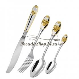 Набор столовых серебряных вилок «ЕДИНСТВО» с позолотой. арт. 925-5-252ВЛ01002(6)