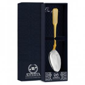 Серебряная чайная ложка «РУССКАЯ-СЕТКА» с позолотой арт. 925-5-1306ЛЖ03002(с)