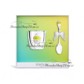 Набор из серебра для младенца «Цыпленок». арт. 925-8-2301010035/37