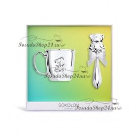 Детский подарочный набор из серебра «МИШУТКА». арт. 925-8-2301010033/20