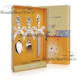 Детский набор из серебра «МИШКА с СЕРДЕЧКАМИ». арт. 925-5-420НБ05802