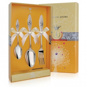 Десертный набор из трехсеребряных приборов «МОРОЗКО». арт.925-5-318НБ02801