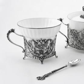 Серебряный чайный набор «ГЕРБ РФ». арт. 925-5-805СХ16006(н)