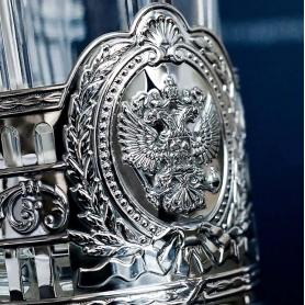 Серебряный подстаканник«ГЕРБ РОССИИ» с ложкой. арт.925-5-932ПС00006