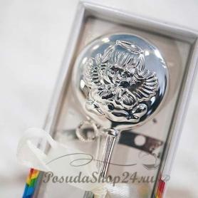 Набор из серебра с пустышкой и погремушкой «АНГЕЛ». арт. 925-5-1010ПГ05001(н)