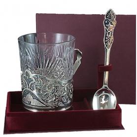 Серебряный подстаканник со стаканом. арт. 875-0031