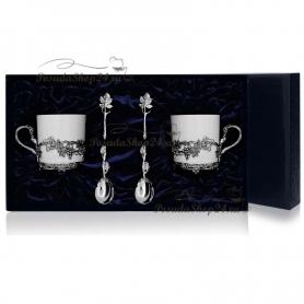 Серебряный кофейный набор«Виноград». арт. 925-5-533ЧШ07006(2)