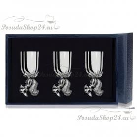 Набор из 3 серебряных рюмок «БЕЛКА». арт. 925-5-024РМ00801