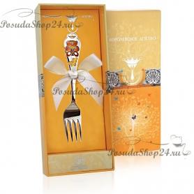 Серебряная детская вилка «МИШКА» с эмалью. арт. 925-5-504ВЛ05008