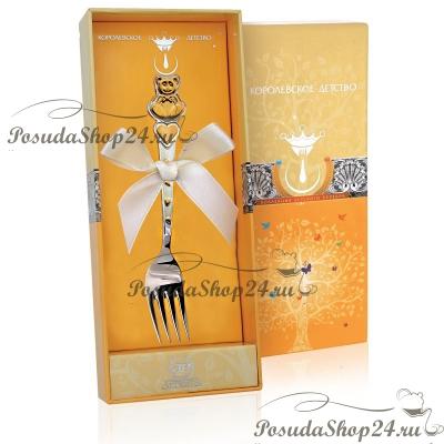 Серебряная детская вилка «МИШКА с СЕРДЕЧКАМИ» с позолотой. арт. 925-5-417ВЛ05001